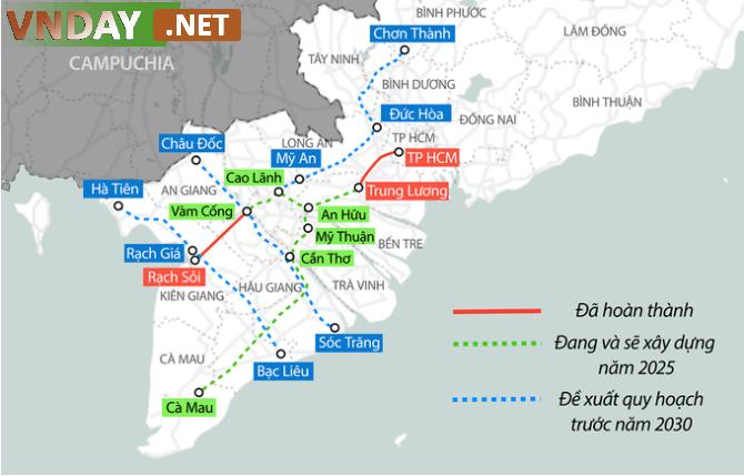Hai tuyến cao tốc Mỹ An - Cao Lãnh và An Hữu - Cao Lãnh sẽ kết nối với các dự án khác để hình thành tuyến cao tốc Bắc - Nam phía Đông và phía Tây ở Đồng bằng sông Cửu Long