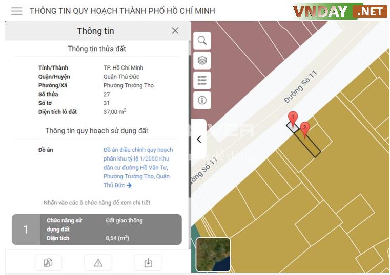 Lô đất này được thể hiện rõ về biết diện tích và thông tin quy hoạch sử dụng đất.